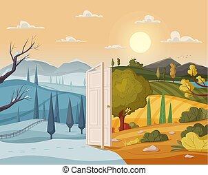 aperto, door., inverno, e, summer., valle, paesaggio., cartone animato, vettore, illustrazione