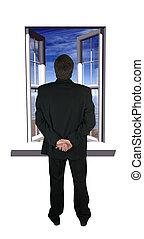 aperto, finestra, con, uno, fiaba, tipo, su, un, spiaggia, e, uomo, guardando, esso