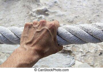 aperto, forte, mão grande, corda, agarramento, envelhecido, ...