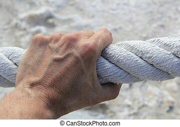 aperto, forte, mão grande, corda, agarramento, envelhecido, homem