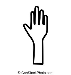 aperto, icona, mano, fermi gesto, elevato, umano