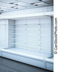 aperto, interpretazione, vuoto, store., frigorifero, 3d