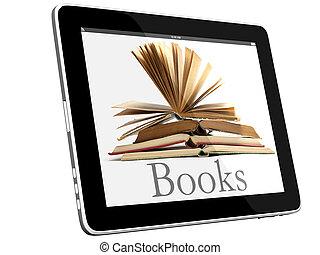 aperto, libri, su, ipad, 3d, concetto