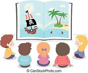 aperto, libro storia, bambini, illustrazione, pirata