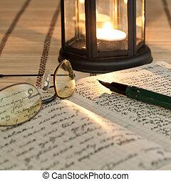 aperto, lume di candela, libro, vecchio