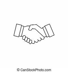 aperto mão, ícone, em, esboço, estilo