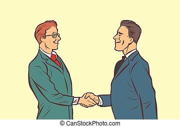 aperto mão, agitação, dois, hands., homens negócios