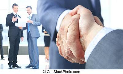 aperto mão, closeup, negócio