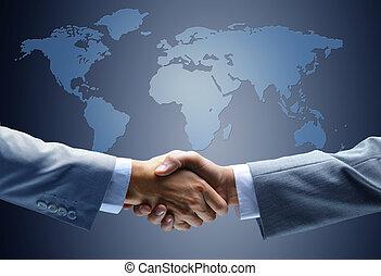 aperto mão, com, mapa, de, mundo, em