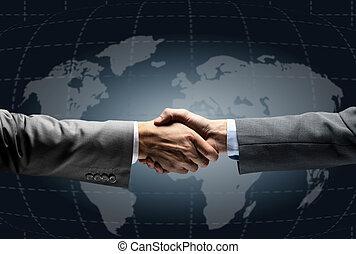 aperto mão, com, mapa, de, mundo, em, fundo