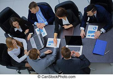 aperto mão, conceito, negócio, aplaudir, reunião equipe