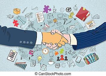 aperto mão, conceito, negócio passa, abanar, doodle