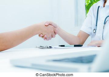 aperto mão, conceito, paciente, seletivo, doutor, Dar, mãos, paciente, isolado, foco, profissionalismo, Clínica, agita, fundo, médico, cuidados de saúde, branca, conceito, doutor, seu