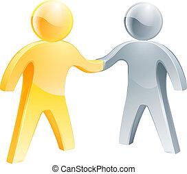 aperto mão, conceito, prata, ouro, pessoas