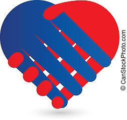 aperto mão, coração, logotipo