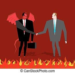 aperto mão, diabo, homem negócios, negócio, Negócio, Fazer,...