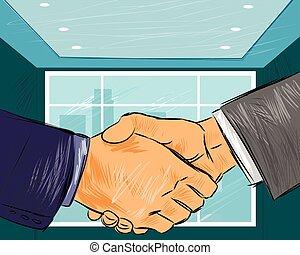 aperto mão, dois, homens negócios