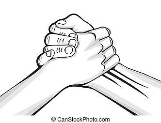 aperto mão, dois, mãos masculinas