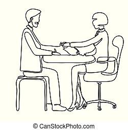 aperto mão, drawing., escritório., contínuo, linhas, isolado, ilustração, desenho, experiência., vetorial, vetorial, empregado, profissional, branca, pensionista, linha, banco