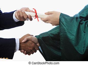 aperto mão, e, um, diploma, em, graduação