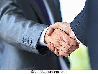 aperto mão, em, escritório
