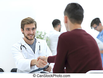 aperto mão, entre, doutor paciente