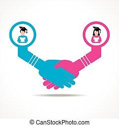 aperto mão, entre, educado, pessoas