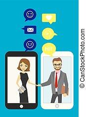 aperto mão, entre, negócio, pessoas., móvel, tecnologia, e, conversando