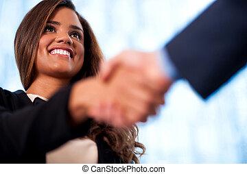 aperto mão, entre, pessoas negócio