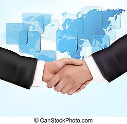 aperto mão, entre, pessoas negócio, com, mapa, de, mundo