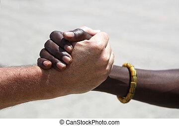 aperto mão, entre, um, caucasiano, e, um, africano