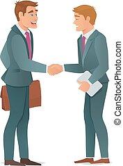 aperto mão, homens, negócio