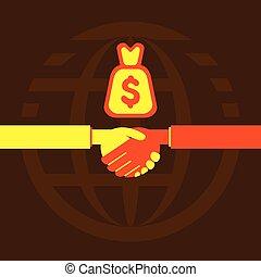 aperto mão, homens negócios, negócio, ou