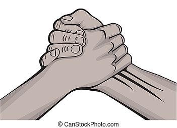 aperto mão, macho, pretas, duas mãos