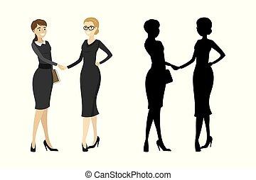 aperto mão, mulher, silueta, negócio, isolado, fundo, branca
