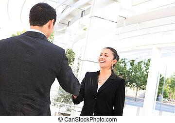 aperto mão, negócio mulher, homem