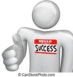aperto mão, nome, sucesso, nametag, pessoa, meu, olá