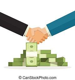 aperto mão, perto, dinheiro, pilha, vetorial, ilustração