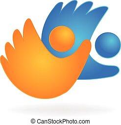 aperto mão, pessoas negócio, logotipo