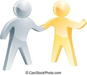 aperto mão, prata, ouro, pessoas
