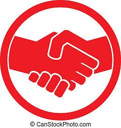 aperto mão, símbolo, (handshake, emblem)
