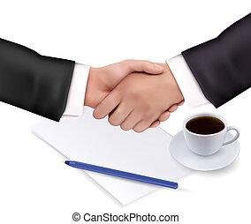 aperto mão, sobre, papel, e, caneta