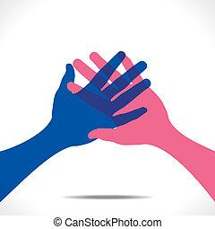 aperto mão, vetorial, juntar, ou, mão