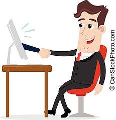aperto mão, virtual, negócio