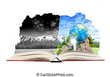aperto, magia, libro, con, terra, per, eco, e, ambientale, concetto
