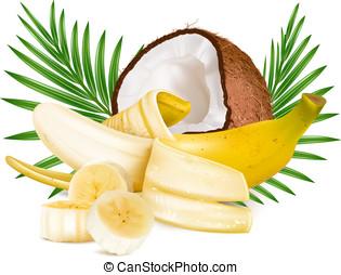 aperto, maturo, banana, e, noce di cocco