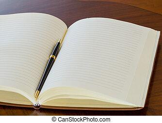 aperto, penna, quaderno, esso