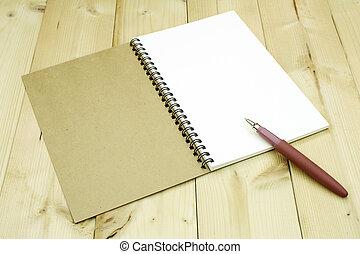 aperto, penna, tavola, quaderno
