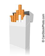 aperto, pieno, pacco sigarette, isolato