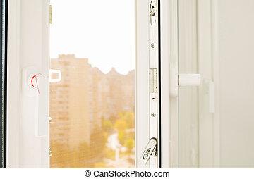 aperto, plastica, finestra, con, uno, vista, su, uno, soleggiato, strada